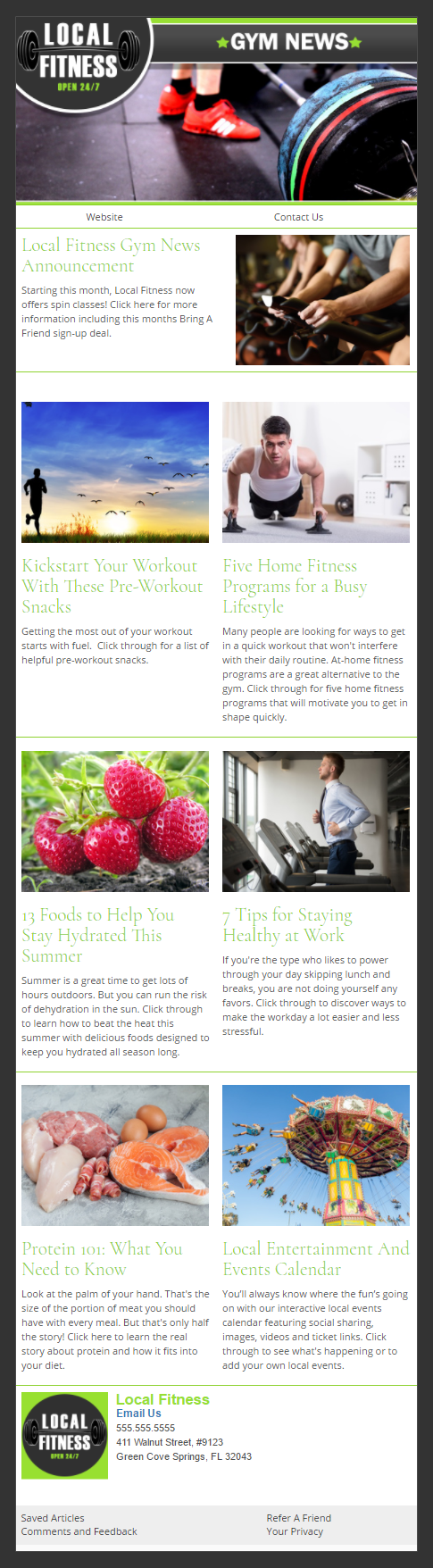 Local Fitness health and wellness Email Newsletter Preview