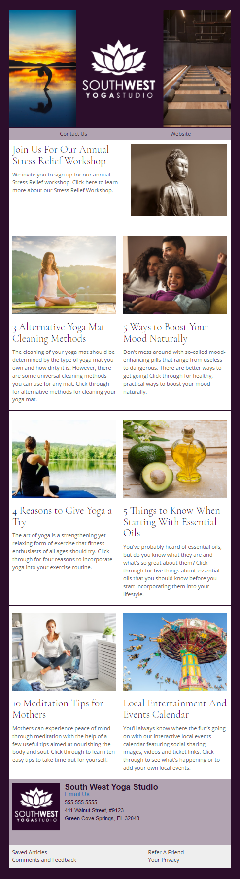 South West Yoga Studio health and wellness Email Newsletter Preview