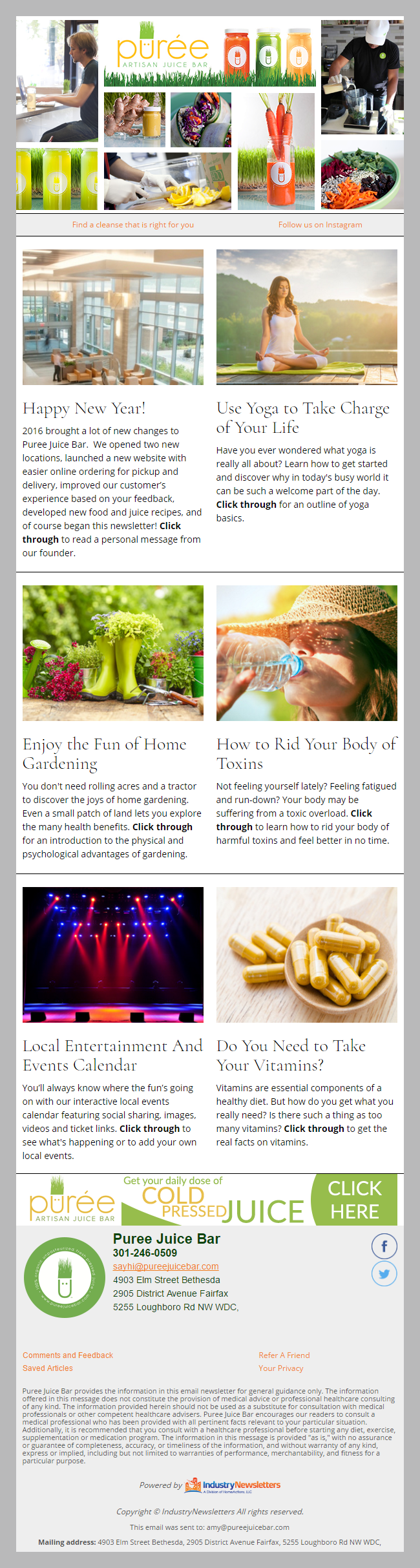 Puree Artisan Juice Bar health and wellness Email Newsletter Preview